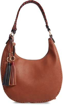 Sondra Roberts Braided Handle Faux Leather Hobo