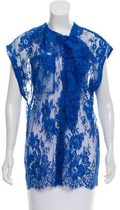 Tome Sheer Asymmetrical Lace Blouse w/ Tags