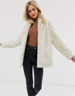 Asos Design DESIGN stand collar faux fur coat