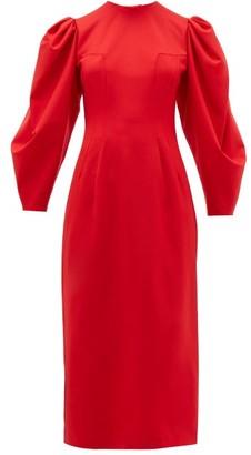 Sara Battaglia Backless Balloon Sleeve Wool Blend Midi Dress - Womens - Red