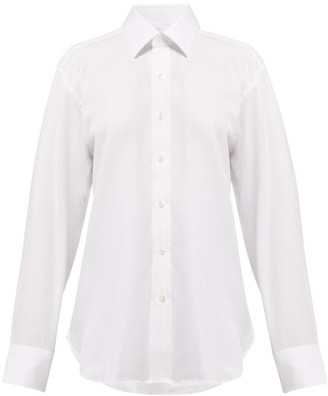 Emma Willis - Herringbone Long Sleeved Cotton Shirt - Womens - White