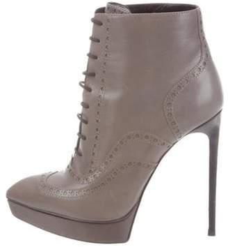 Saint Laurent Platform Brogue Ankle Boots Grey Platform Brogue Ankle Boots