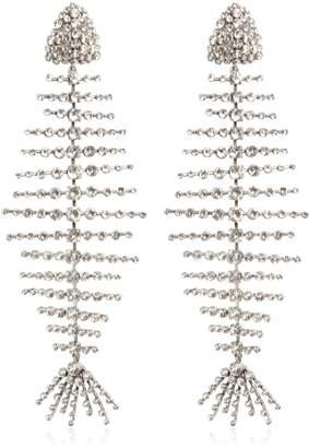 Saint Laurent Crystal Fish Clip-On Earrings