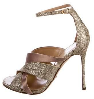 Sergio Rossi Glitter Ankle Strap Sandals