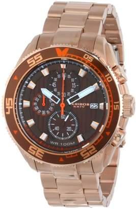 Akribos XXIV Men's AK646RG Grandiose Chronograph Brown Dial Rose-tone Stainless Steel Bracelet Watch
