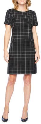 Liz Claiborne Short Sleeve Grid Shift Dress