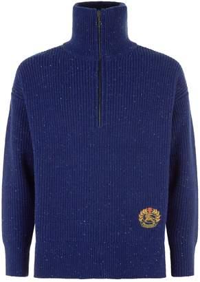 Burberry Flecked Zip Neck Sweater