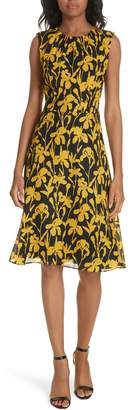 Milly Iris Print Silk Georgette Dress
