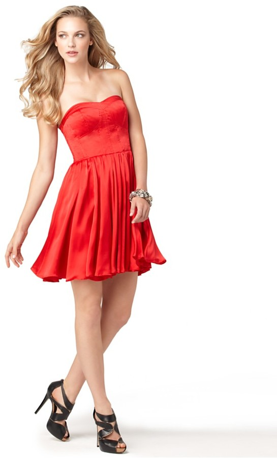GUESS Dress, Strapless Sweetheart Neck A-Line