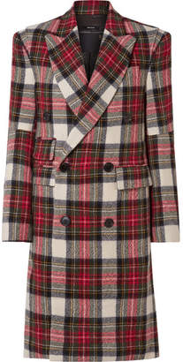 R 13 Kendall Double-breasted Tartan Wool Coat - Red