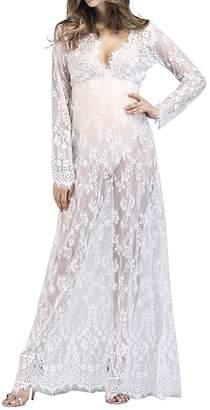 IWEMEK Women Maternity Long Sleeve Lace Photo Shoot Maxi Gown Dress