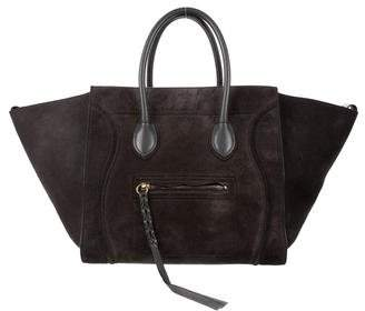 Celine Suede Medium Luggage Phantom Tote