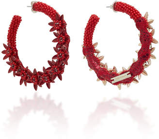 Deepa Gurnani Larsen Floral Embellished Hoop Earrings