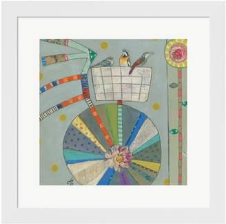 Metaverse Art Bird Basket In Bicycle Framed Wall Art