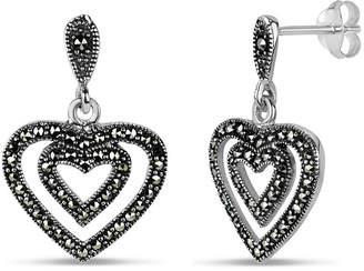 Swarovski FINE JEWELRY Black Marcasite Sterling Silver Heart Drop Earrings
