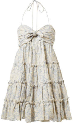 Zimmermann Helm Tiered Printed Linen And Cotton-blend Mini Dress
