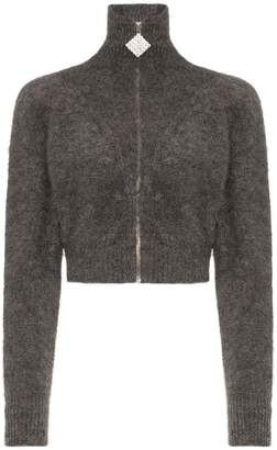 Alessandra Rich crystal embellished cropped mohair blend cardigan