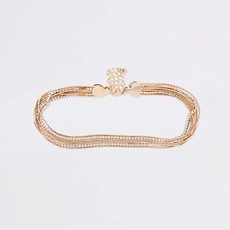 River Island Gold tone rhinestone snake chain choker