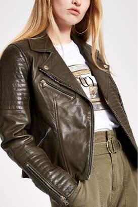 River Island Womens Khaki Cato Leather Biker Jacket - Green
