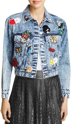 Alice + Olivia Chloe Embellished Cropped Denim Jacket $695 thestylecure.com