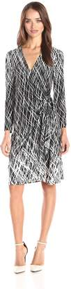 BCBGMAXAZRIA Azria Women's Adele Printed Wrap Casual Dress