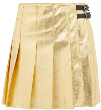 MSGM Eco Pleated Faux Leather Mini Skirt - Womens - Gold