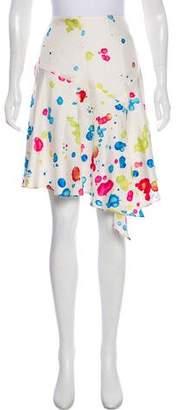 Milly Silk Splatter Print Skirt