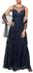 Alex Evenings Illusion Neck Soutache Evening Dress with Wrap