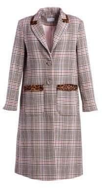 Tanya Taylor Leida Leopard& Plaid Trench Coat
