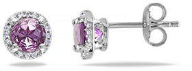 HBC CONCERTO Amethyst Diamond-Accented Sterling Silver Stud Earrings