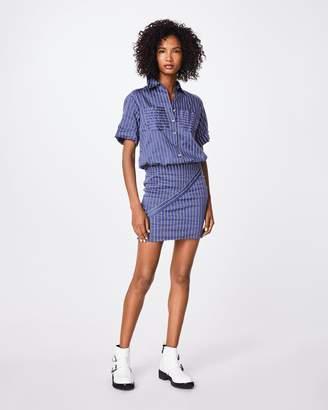Nicole Miller Striped Cotton Metal Button Down Shirt Dress