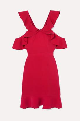 Rachel Zoe Delia Cold-shoulder Ruffled Crepe Mini Dress - Red