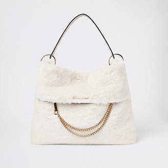 River Island Cream faux fur chain front slouch bag