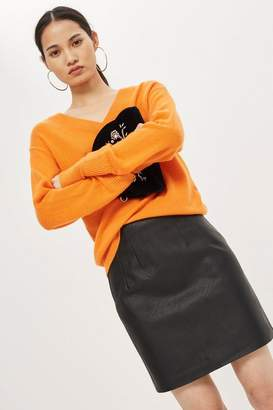 Topshop TALL Highwasted Faux Leather Skirt