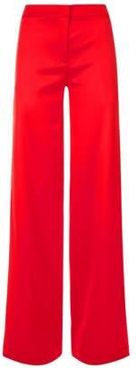 La Perla Desk To Dinner Rubine Red Virgin Wool Flared Trousers With Side Slit