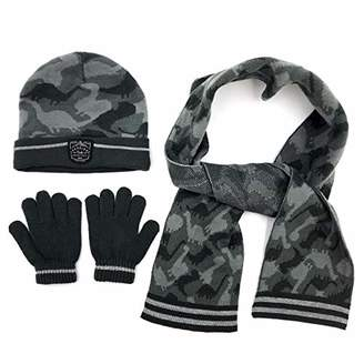 accsa Winter Kids Boy Dinosaur Knit Hat Glove & Scarf Set For 11-13 years old child