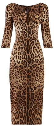 Dolce & Gabbana Leopard Print Cady Mini Dress - Womens - Leopard