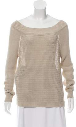 Veronica Beard Open Knit Bateau-Neck Sweater