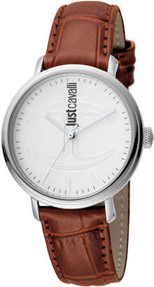 Just Cavalli 34mm CFC Stainless Steel Watch w/ Leather Strap, White/Brown