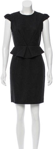 Miu Miu Miu Miu Virgin Wool Peplum Dress
