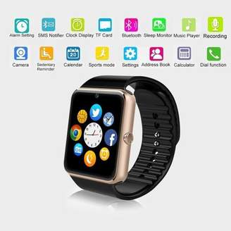 Jeobest GT08 Bluetooth Smart Watch for Android phones - GT08 Smart Watch with Camera TF/SIM Card Slot for Android and iPhone Smartphones (Not including the SIM Card )(Gold)