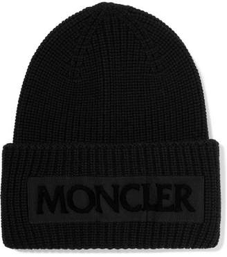 Moncler Flocked Grosgrain-trimmed Ribbed Wool Beanie - Black