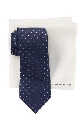 Tommy Hilfiger Silk Easy Dot Tie & Solid Pocket Square Set