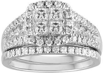 MODERN BRIDE 1 CT. T.W. Diamond 14K White Gold Bridal Ring Set