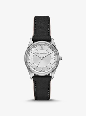 Michael Kors Colette Silver-Tone and Leather Watch