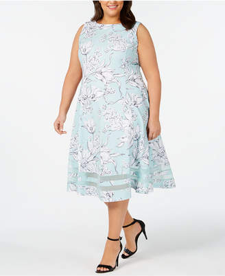 feb4c8373dc57 Calvin Klein Plus Size Floral Midi Fit   Flare Dress