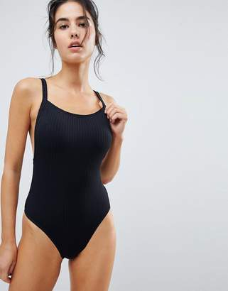 Seafolly Square Neck Ribbed Swimsuit