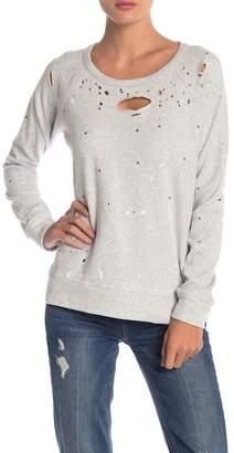 Chaser Paint Splatter Distressed Sweatshirt