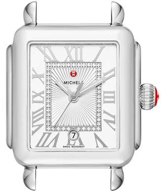 Michele Deco Madison Stainless Steel Watch Head with Diamonds