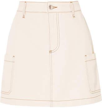 ALEXACHUNG Denim Mini Skirt - Cream